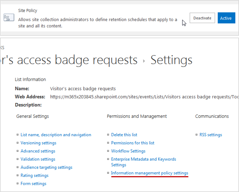 blog ai3 ShpCleanPolicy03 RGPD : SharePoint clean policy